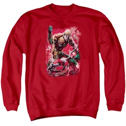 Image of Aquaman Sweatshirt Stabbed Adult Red Sweat Shirt