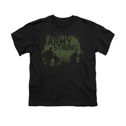 Image of Army Shirt Kids Distressed Army Strong Black T-Shirt