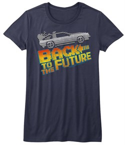Back To The Future Juniors Shirt 8Bit to the Future Blue Tee T-Shirt