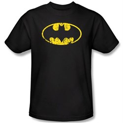 Batman Kids T-Shirt - Classic Logo Distressed Youth Black Tee