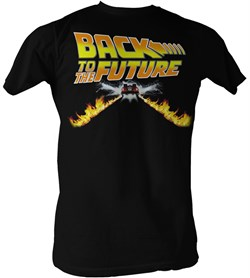 Back To The Future T-Shirt - Delorean Fire Tracks Adult Black