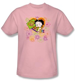 Women's Betty Boop Peace, Love and Boop Pink Tshirt