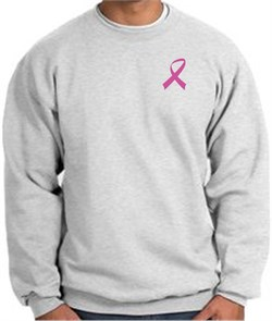 Image of Breast Cancer Awareness Sweatshirt Pink Ribbon Pocket Print Adult Ash