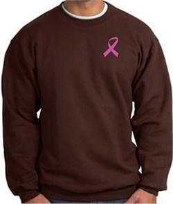 Image of Breast Cancer Awareness Sweatshirt Pink Ribbon Pocket Print Brown