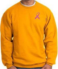 Image of Breast Cancer Awareness Sweatshirt Pink Ribbon Pocket Print Adult Gold