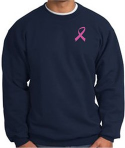 Image of Breast Cancer Awareness Sweatshirt Pink Ribbon Pocket Print - Navy