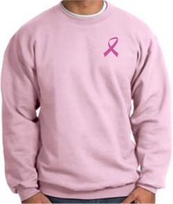 Image of Breast Cancer Awareness Sweatshirt Pink Ribbon Pocket Print Adult Pink