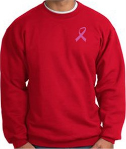 Image of Breast Cancer Awareness Sweatshirt Pink Ribbon Pocket Print Adult Red