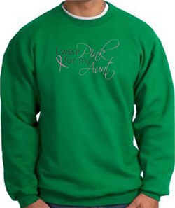 Image of Breast Cancer Sweatshirt I Wear Pink For My Aunt Kelly Green