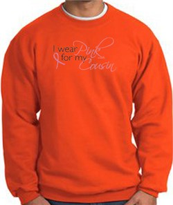 Image of Breast Cancer Awareness Sweatshirts I Wear Pink For My Cousin Orange