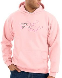Image of Breast Cancer Hoodie - I Wear Pink For My Friend Adult Pink Hoody