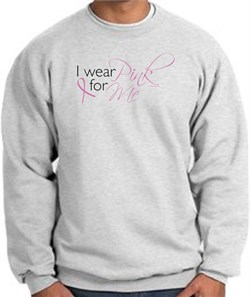 Image of Breast Cancer Awareness Sweatshirt - I Wear Pink For Me Adult Ash