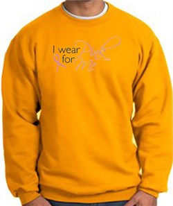 Image of Breast Cancer Awareness Sweatshirt - I Wear Pink For Me Adult Gold