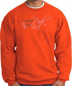 Image of Breast Cancer Awareness Sweatshirt - I Wear Pink For Me Adult Orange