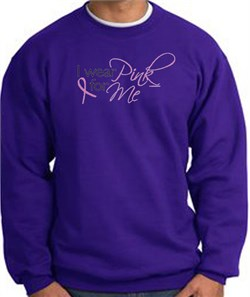 Image of Breast Cancer Awareness Sweatshirt - I Wear Pink For Me Adult Purple