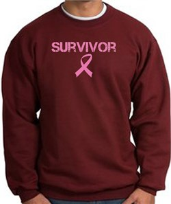 Image of Breast Cancer Sweatshirt Distressed Survivor Maroon Sweat Shirt