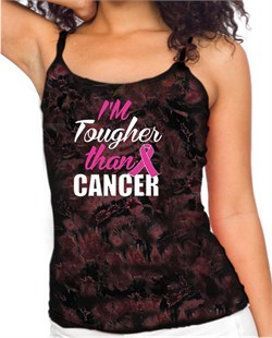Image of Breast Cancer Awareness Tanktop Tougher Than Cancer Tie Dye Tank Top