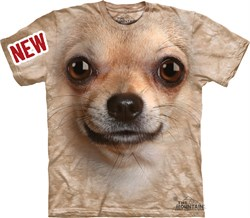 Image of Chihuahua Shirt Tie Dye Dog Face T-shirt Adult Tee