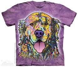 Image of Colorful Golden Retriever Shirt Tie Dye Adult T-Shirt Tee