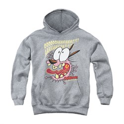 Image of Courage The Cowardly Dog Youth Hoodie Scaredy Dog Athletic Heather Kids Hoody