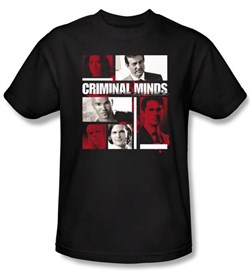Image of Criminal Minds Youth T-shirt Character Boxes TV Show Black T-Shirt