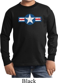 Distressed Air Force Star Kids Long Sleeve Shirt