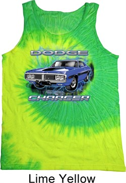 Image of Dodge Tanktop Blue Dodge Charger Tie Dye Tank Top
