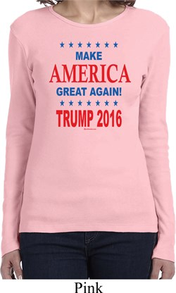 Donald Trump Shirt Make America Great Again Text Ladies Long Sleeve