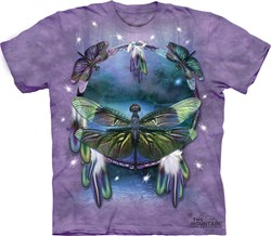 Image of Dragonfly Shirt Tie Dye Dreamcatcher T-shirt Adult Tee