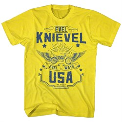 Evel Knievel Shirt Evel Ways USA Yellow T-Shirt