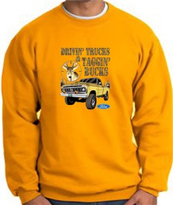 Image of Ford Truck Sweatshirt Driving and Tagging Bucks Gold Sweat Shirt