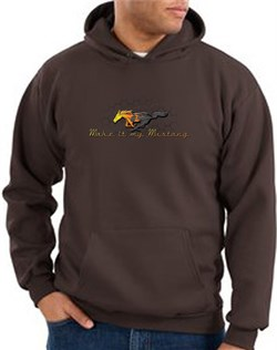 Product Image of Ford Mustang Hoodie Sweatshirt - Make It My Mustang Grill Brown Hoody
