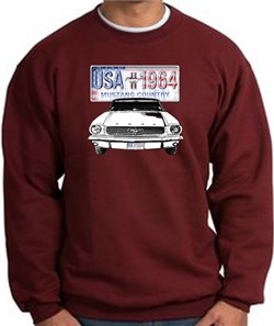Image of Ford Mustang Sweatshirt - USA 1964 Country Adult Maroon Sweat Shirt