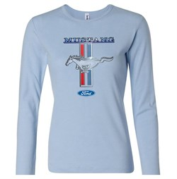 Ford Mustang Shirt Stripe Ladies Long Sleeve Tee T-Shirt