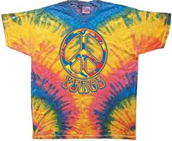 Image of Funky 70s Peace Tie Dye Woodstock Color Adult Unisex T-shirt Tee Shirt