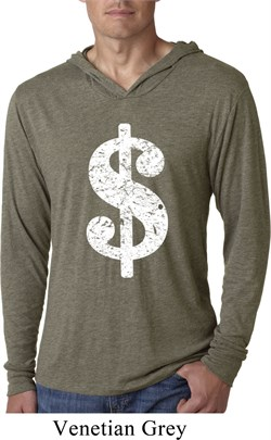Image of Funny Shirt Distressed Dollar Sign Lightweight Hoodie Tee T-Shirt