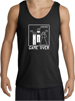 Game Over Marriage Ceremony Tanktop Funny Black Tank - White Print