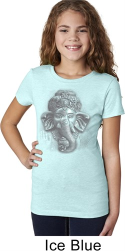 Image of Girls Yoga Shirt 3D Ganesha Lights Tee T-Shirt