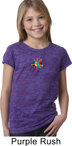 Image of Girls Yoga Shirt Hippie Sun Patch Middle Print Burnout Tee T-Shirt