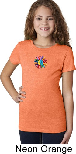 Image of Girls Yoga Shirt Hippie Sun Patch Middle Print Tee T-Shirt