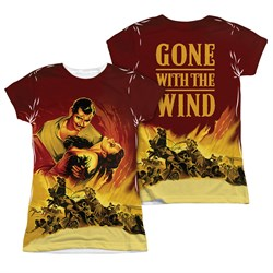 Gone With The Wind Fire Poster Sublimation Juniors Shirt Front/Back Print
