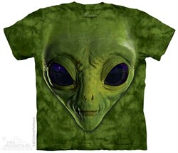 Image of Green Alien Face Shirt Tie Dye Adult T-Shirt Tee