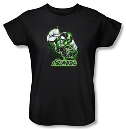 Green Lantern Ladies T-shirt Green and Gray Green Lantern Black Tee