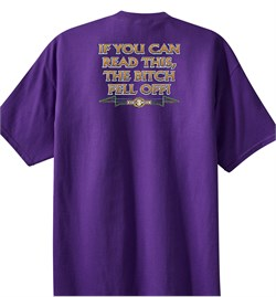 Biker T-shirt If You Can Read This, The Bitch Fell Off Purple Shirt