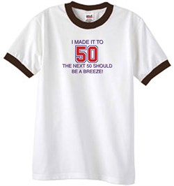 Image of 50th Birthday Shirt I Made It To 50 Ringer Shirt White/Brown