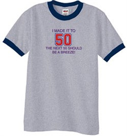 Image of 50th Birthday Shirt I Made It To 50 Ringer Shirt Grey/Navy