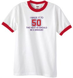 Image of 50th Birthday Shirt I Made It To 50 Ringer Shirt White/Red