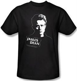 James Dean T-shirt Intense Stare Adult Black Tee Shirt