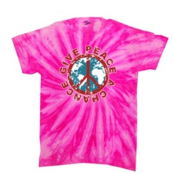 Kids Peace Tie Dye Shirt Give Peace A Chance Bubblegum Twist Tee
