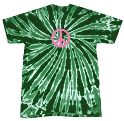 Kids Peace Tie Dye Shirt Pink Peace Dark Green Twist Youth Tie Dye Tee